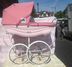 We have a beautiful brand new never been used Balmoral silver cross coach built pram complete with authenticity paper work , cleaning kit and a set of white leather reins. retailing in John Lewis £!800. our price £1200. Please email for more pictures.