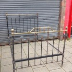 Antique brass and iron bedstead  original. £300