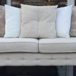 We have a lovely scrolled arm large two seater sofa with a single matching chair. All seat and scatter cushions are removable and washable £250