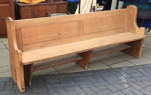 We have a lovely solid oak 1950's methodist church pue with a supporting shelf running  under the seating what would make an ideal shoe hide away and a book rest running along the back of the pue. 7ft long and in great condition. £200
