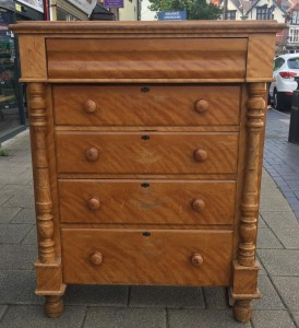 """L.N.E.R Victorian chest of draws. This is a rear and original piece with the back stamp  """"L.N.E.R gate house Bullwell Forest Nottingham"""" £300"""